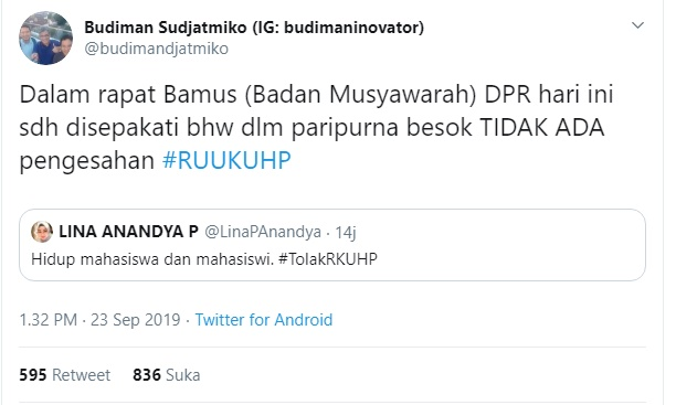 Budiman Sudjatmiko - Twitterbudimandjatmiko
